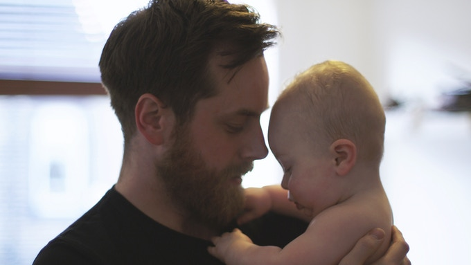 Dave at home with his son, Oscar - Leeds, 2012
