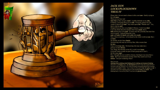 I-MICE art from the story 'Chronicles of Jack Gun.'  This piece speaks to the vicious cycle some experience in our justice system.