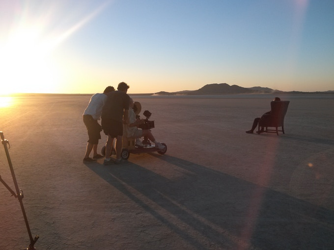 Exterior sequences shot at El Mirage Dry Lake in the Mojave Desert.  A stunning landscape but extremely hot in August.
