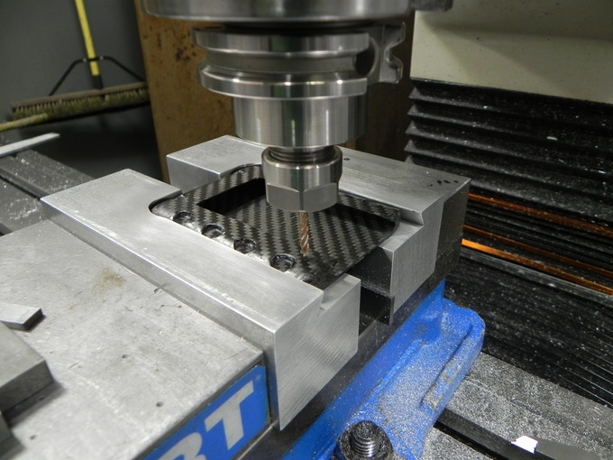 Milling out the carbon fiber at Nusco Machine