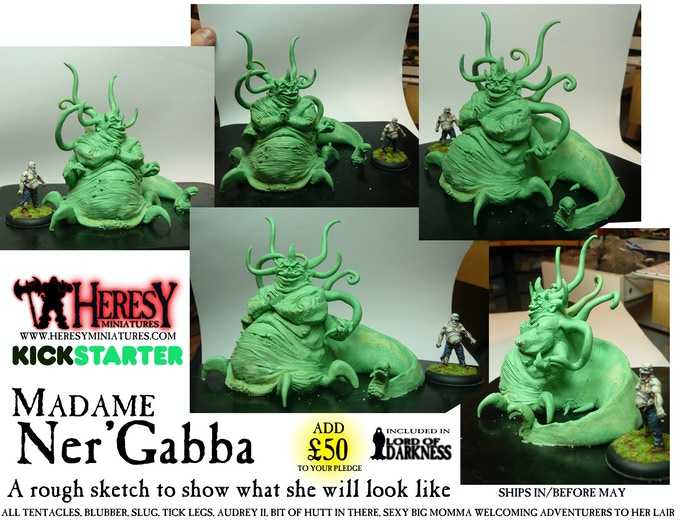 Ner'Gabba! This is a rough sculpt to show you what she will look like when properly done. She's one sassy slug-tick-tentacle monster lady!