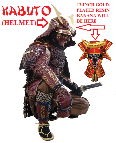 The helmet worn by the Samurai warriors is called a KABUTO. The helmet protects the neck and shoulder areas also. The life-size Silverback Samurais™ statue has a kabuto with a 13-inch long gold-plated resin banana attached!