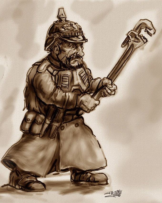 prussian scrunt mechanic with wrench