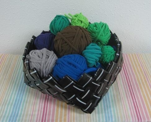 Large handmade upcycled basket