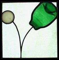 """Original stained glass """"ball bounce"""" panel by Ruminant artist Karl Unnasch"""