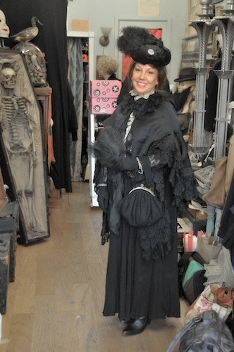 "Victoriana lady Lisa on the set of ""Oddities."""