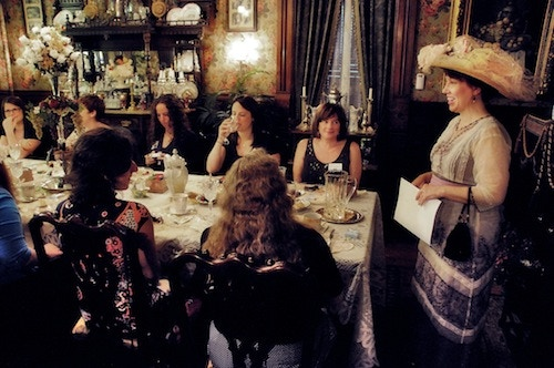 Victoriana Lady Lisa speaks at a recent event.