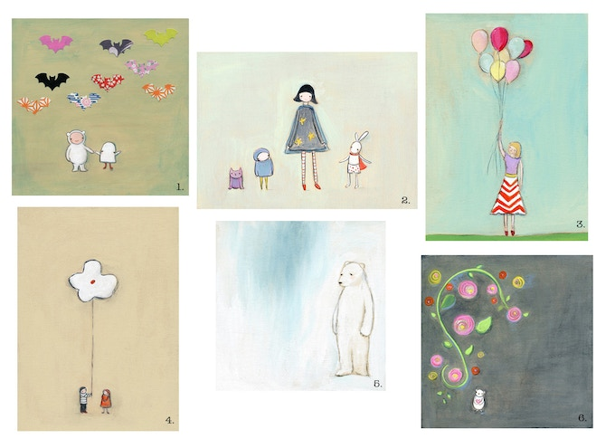 """original acrylic paintings {sizes between 5"""" and 7""""} for """"the Sweetie Bear"""" reward"""
