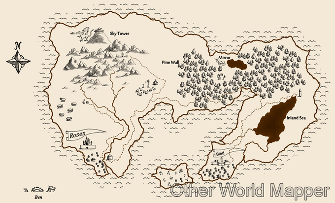 Sketchy map, created from start to finish with Other World Mapper