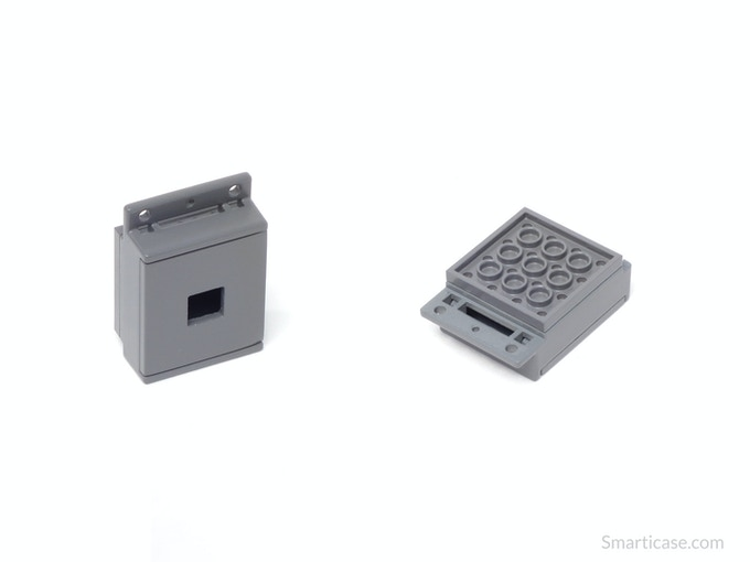 The camera case is a two part snap together case with a Lego compatible back.