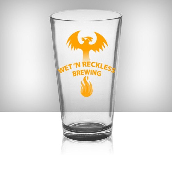 Limited edition pint glass with phoenix logo