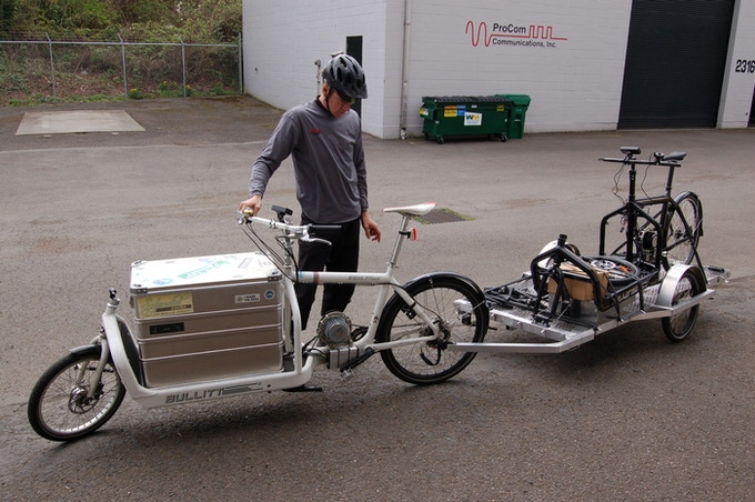 Joel Grover owner of Splendid Cycles, of Portland Oregon, hauling a Bullitt with a Bullitt