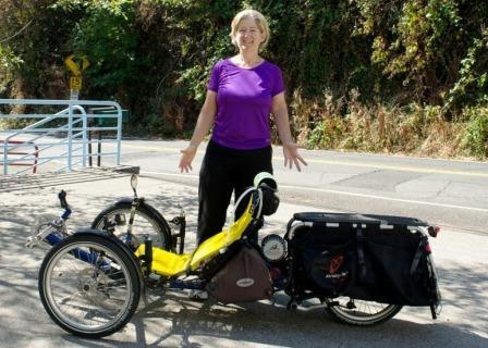 Sylvia Halpern and her trike Moto Myrtle with custom built EcoSpeed Mid-Drive have toured the world. (Click for video)