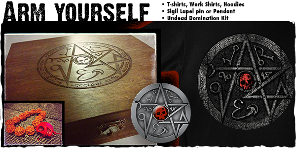 Our exclusive Kickstarter rewards will help you survive the Undead assault! Shown is the Undead Domination Kit etched box, string of beads, mockup of pewter amulet, and T-shirt.