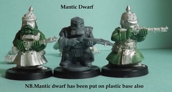 Prussian Scrunts alongside a Mantic Dwarf, all are shown on the same black plastic bases.Used for scale comparison only no infrindgement of copyright intended