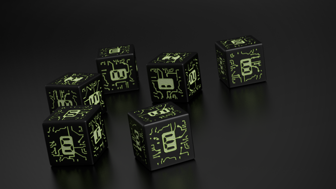 Custom cyberpunk themed dice for each member in your team.