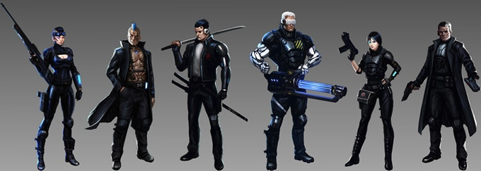 The playable characters - each of them adds a unique ability and skill to your group in the fight against the corporations. From left to right: