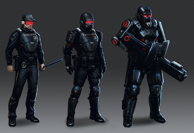 Opponent NPC characters - the bad guys you will fight when confronting the corporations on the grid. From left to right: