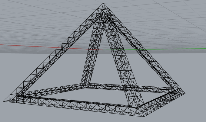 A perfect pyramid wireframe render