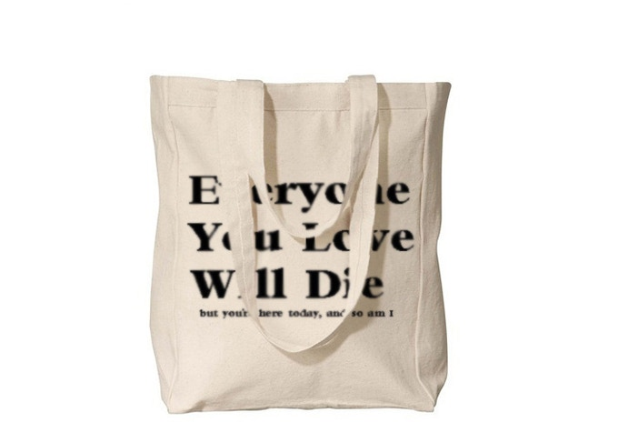 There are tote bags involved
