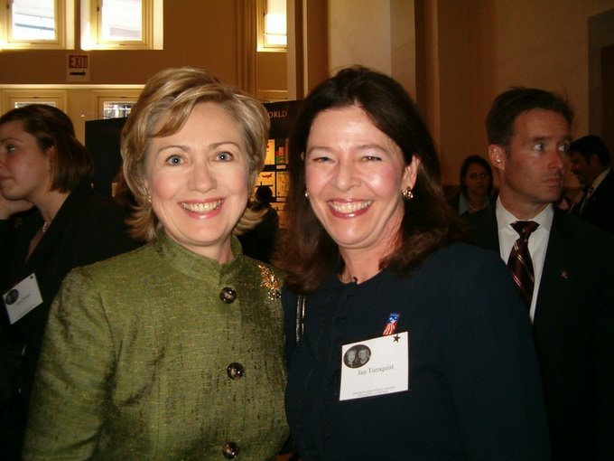 Former Secretary of State Hillary Rodham Clinton with Orchard House Executive Director Jan Turnquist