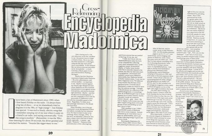 """From Madonna's official fanzine, """"Icon""""—remember magazines???"""