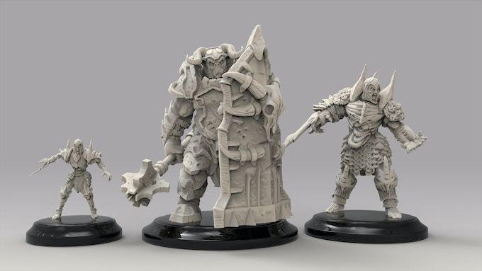 Size Comparison - Zombie Gravewalker, Bugbear Ironshield and the Flesh Golem