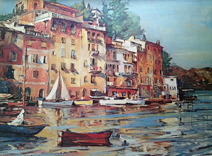 Marian Williams Steele, Along the Riviera, Giclée print of oil on canvas