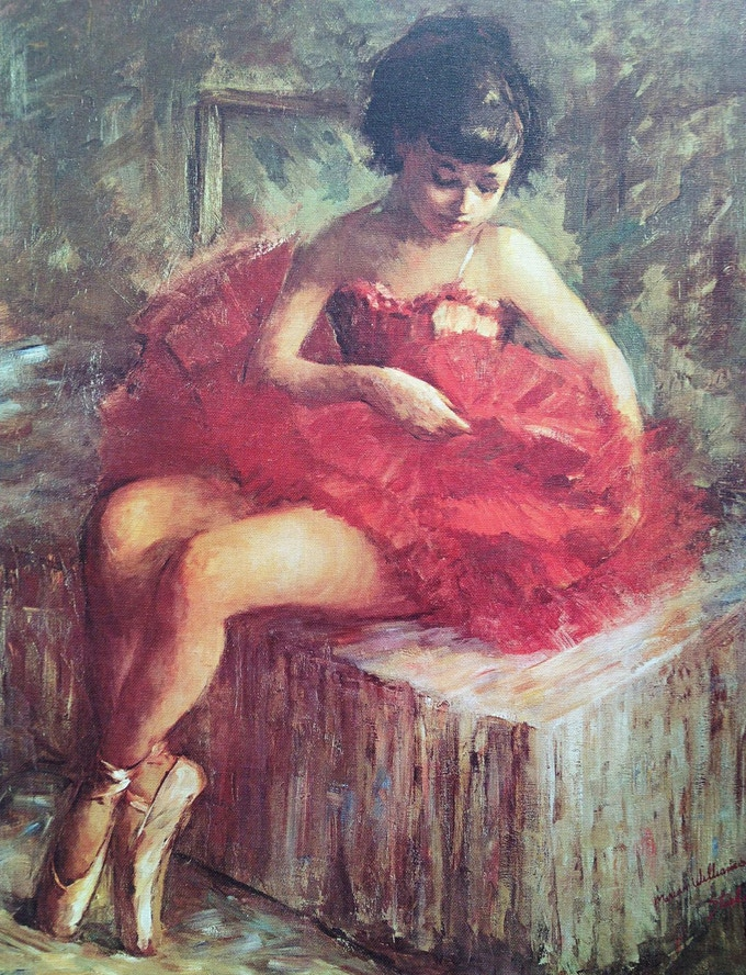 "Marian Williams steele, ""Young Ballerina"", Giclée print of oil on canvas 18x25"