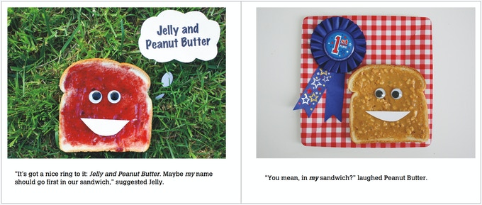 Introducing the main characters, Jelly and Peanut Butter. In this sample spread, Jelly daydreams about changing their name, but Peanut Butter doesn't think it's a good idea.