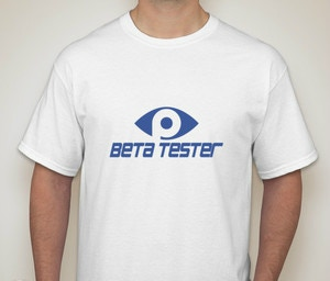 Beta Tester T-shirt available in small, medium, large, and XL.