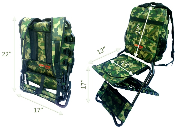 Chair-Pak is about this size of your back and fits into most airplane overhead bins!