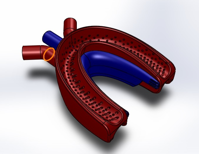 An early CAD illustration of the mouthpiece.