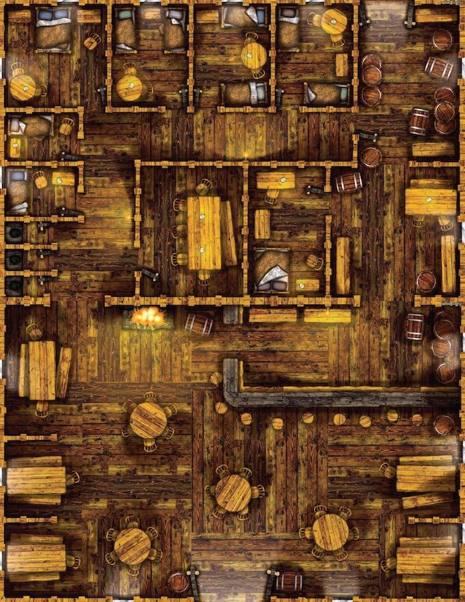 A sample map from the Fireside Inn interiors (17x22)