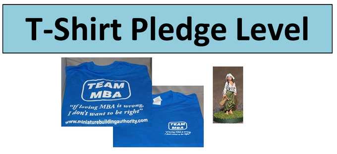 Double sided blue MBA T-shirt with free unpainted Dairy Maid figure
