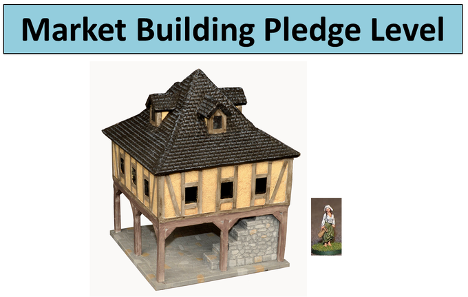 Market Building II with free unpainted Dairy Maid figure.