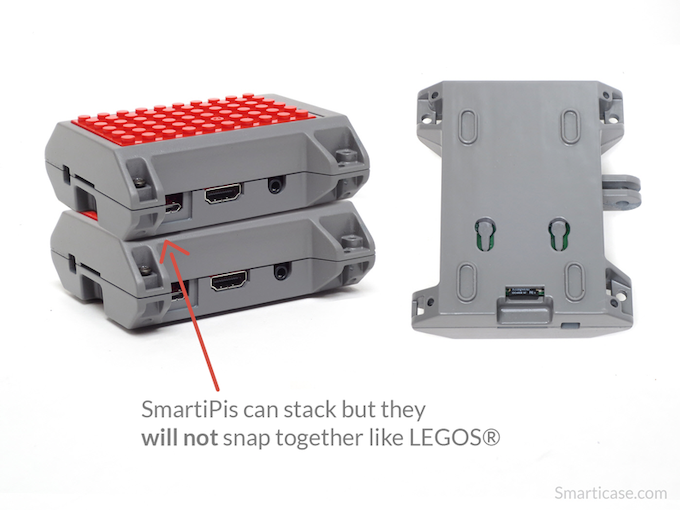 Stacking features allow you to stack multiple SmartiPis on top of each other. They will not snap together like Legos®, but you could zip tie them together.