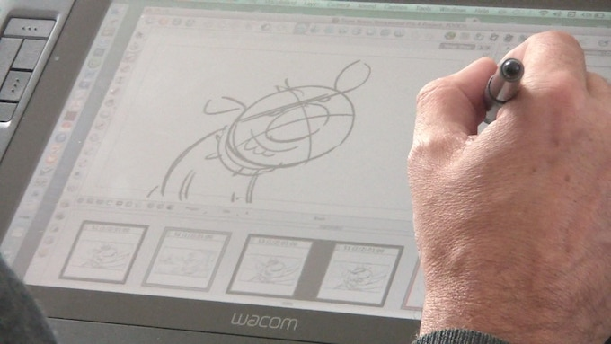 Artist Vin James working on the storyboards for Pooch Proposal