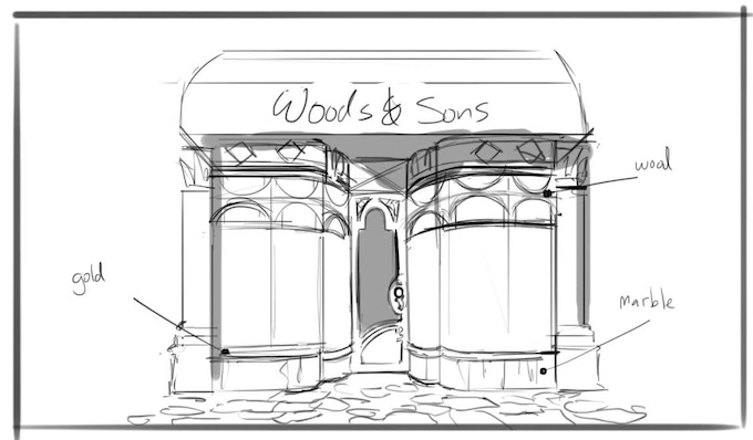 Concept sketch for jewellery shop by Gervais Merryweather