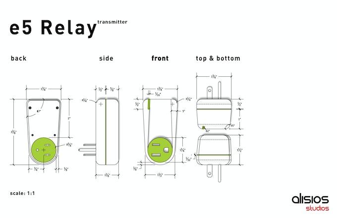 Designer's layout of the e5 Relay Transmitter.
