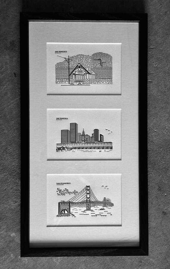 SF (My Type of City) Completed Topographic Typography 5x7 Letterpress Prints