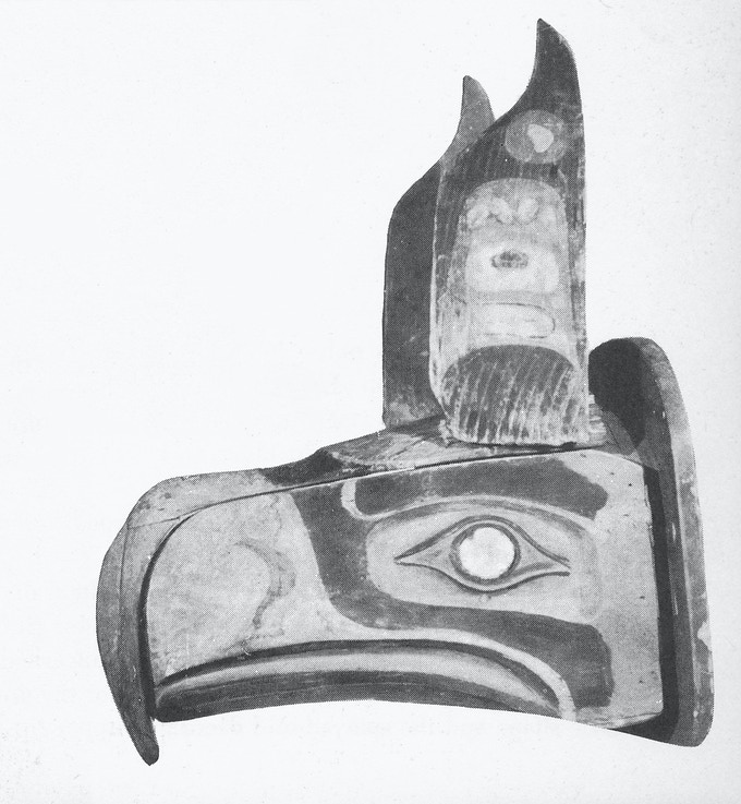 """Kwakwaka'wakw transformation mask in its closed form. Published in Robert Bruce Inverarity's book, """"Art of the Northwest Coast Indians,"""" 1950."""