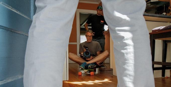 Director of Photography Matt Bucy and AC Rich Bravman get rad with a skateboard dolly shot.