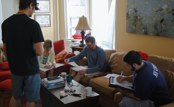 Assistant Cinematographer Rich Bravman, Script Supervisor Lizzie Brooks, Director Bryan Horch and Producer Mike Capodiferro prep for the shoot.