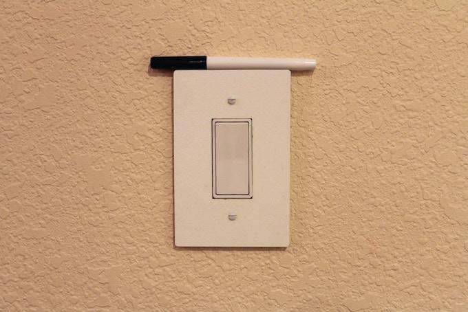 For a single, rocker switch ($12) - 14.6 cm. by 9.6 cm.