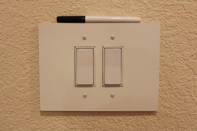 For a double, rocker switch ($14) - 14.6 cm. by 19.0 cm.