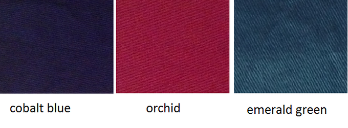 Stretch Goal Color Options: cobalt blue, orchid and emerald green