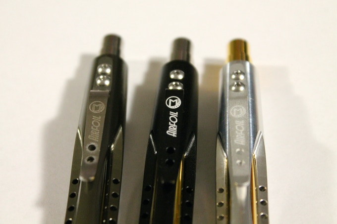 Clip comparison as requested by a potential backer, better picture coming later when I'm not using my living room fluorescent light. From the left: stainless (working on a spring tempered buffed version), matte black, and matte natural aluminum.