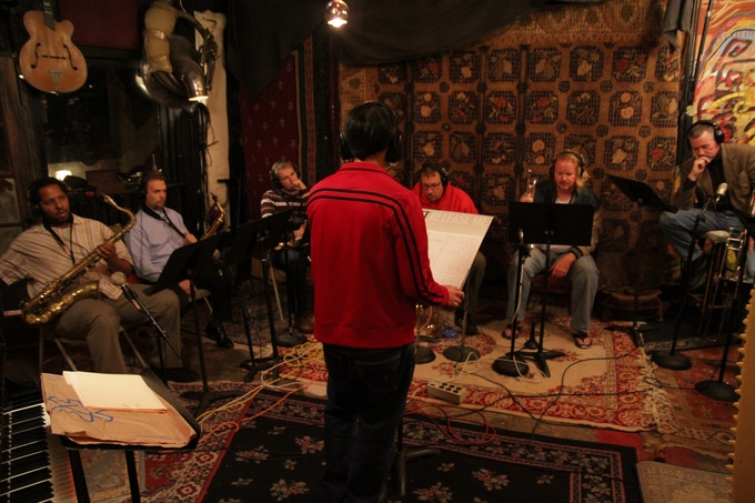 Upper East Side Big Band horn section @ Minimum Wage Recording. Photo by William Gaff.