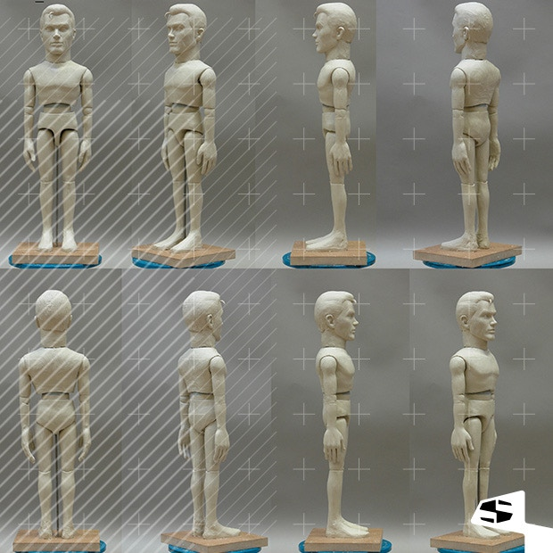 An early sculpt of one of the heroes - Sam Scott